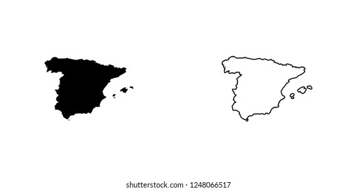 A Country Shape Illustration of Spain Spain