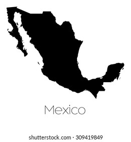 A Country Shape isolated on background of the country of Mexico