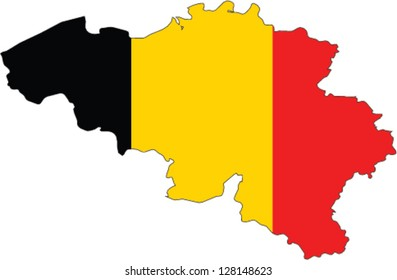 Country shape outlined and filled with the flag of Belgium