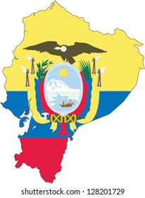 Country shape outlined and filled with the flag of Ecuador