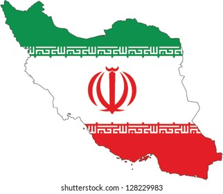 Country shape outlined and filled with the flag of Iran