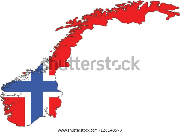 Country shape outlined and filled with the flag of Norway