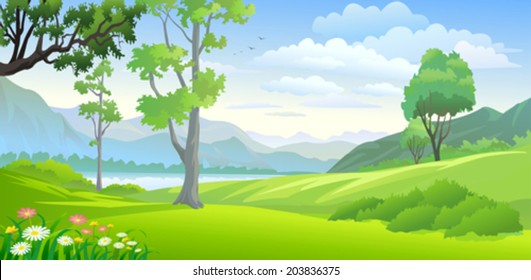 Country side lake and hills
