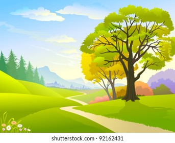 COUNTRY SIDE TREES , HILLS AND LONELY PATHWAY