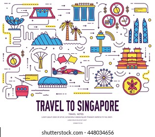 Country Singapore travel vacation guide of goods, place and feature. Set of architecture, fashion, people, item, nature background concept. Infographic traditional ethnic flat, outline, thin line icon