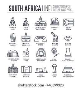 Country South Africa travel vacation of place and feature. Set of architecture, fashion, people, item, nature background concept. Infographic traditional ethnic flat, outline, thin line icon