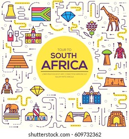 Country South Africa travel vacation of place and feature. Set of architecture, item, nature background concept. Infographic traditional ethnic flat, outline, thin line icon