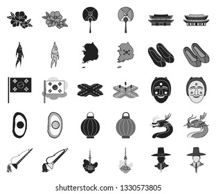 Country South Korea black,monochrome icons in set collection for design.Travel and attraction vector symbol stock web illustration.
