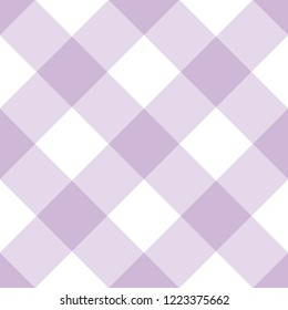 Country Style Diagonal Purple On White Background Seamless Pattern. Vector Repeat Pattern