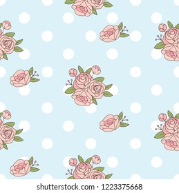 Country Style Polkadot Rose Flower On Pale Blue Background Seamless Pattern. Vector Repeat Pattern
