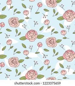 Country Style Rose Flower On Pale Blue Background Seamless Pattern. Vector Repeat Pattern