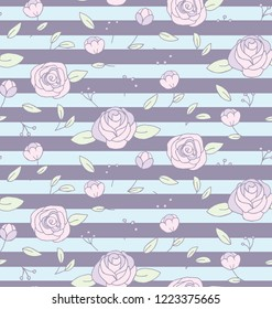 Country Style Stripes Rose Flower On Pale Blue and Purple Background Seamless Pattern. Vector Repeat Pattern