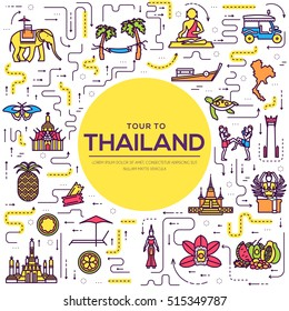 Country thailand travel vacation guide of goods, place and feature. Set of architecture, fashion, people, item, nature background concept. Infographic traditional ethnic flat, outline, thin line icon