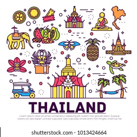 Country Thailand travel vacation of place and feature. Set of architecture, item, nature background concept. Infographic traditional ethnic flat, outline, thin line icon