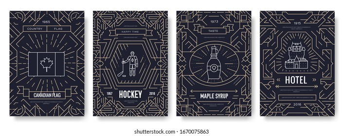 Country traditional template of flyear, magazines, posters, book cover, banners. Architecture outline invitation concept background. Canada thin line brochure cards set. Layout quality modern pages.