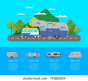 Country traveling poster with van and camping trailer on highway. Side view car RV trailer caravan on mountain landscape. Tourist mobile motorhome for outdoor family vacation vector illustration.