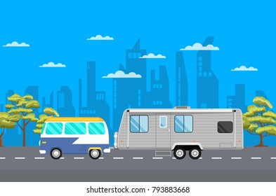 Country traveling poster with van and camping trailer on highway. Tourist mobile motorhome for outdoor family vacation vector illustration. Side view car RV trailer caravan on background of cityscape.