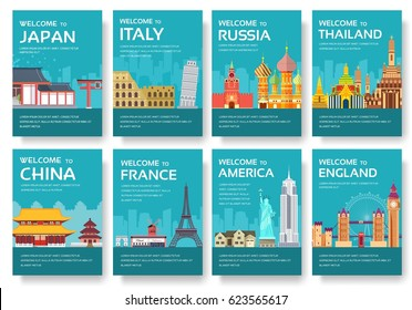 Country of USA, England, China, Frnace, Russia, Thailand, Japan, Italy cards set. Travel of the world of flyer, magazines, poster, book cover, banners. Layout infographic template illustration pages