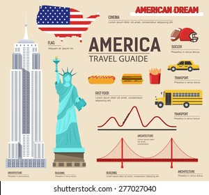 Country USA travel vacation guide of goods, places and features. Set of architecture, foods, sport, items, nature background concept. Infographics template design for web and mobile. On flat style