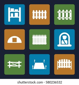 country vector icons. Set of 9 country filled icons such as fence, airport officer, cargo barn