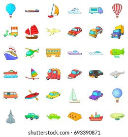 Country vehicle icons set. Cartoon style of 36 country vehicle vector icons for web isolated on white background
