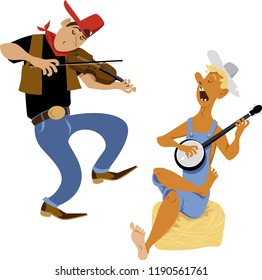 Country western folk musicians characters playing fiddle and banjo, EPS 8 vector cartoon