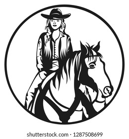 Country women on horse in black and white