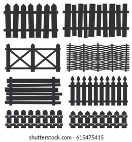 Country wooden fences, palisade vector. Black silhouette wood gate illustration