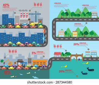 countryside and big city infographic elements. Environmental risks and pollution with sustainable living. for background, layout, banner, diagram, web design, brochure template. Vector illustration