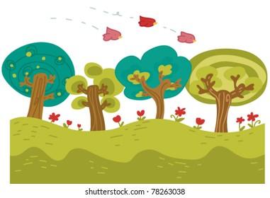 countryside cartoon scene