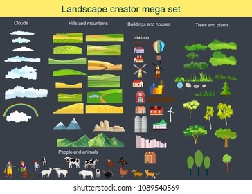 Countryside creator theme imega set , land, agro, trees, hills, animals, tractor,mills people.
