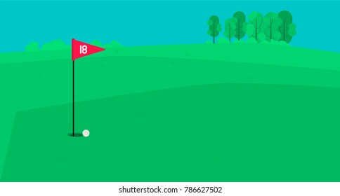 Countryside golf field bacnground vector illustration