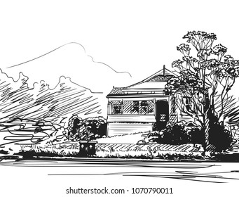Countryside house surraunded by trees and bushes with mountain on background, Hand drawn vector illustration