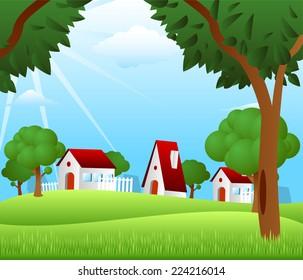 Countryside houses rural granary storehouse shelter cabin farm scene