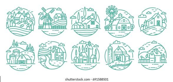 Countryside labels set. Farm various logo collection. Line art monochrome vector illustration.
