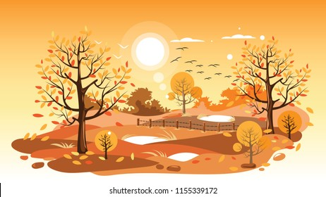 Countryside landscape in autumn, Vector illustration of horizontal banner of autumn landscape farm, mountains and trees with yellow foliage.