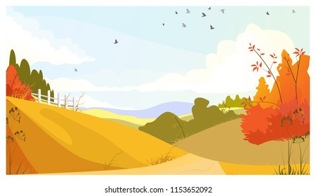 Countryside landscape with bushes and meadows. Landscape, nature, autumn concept. Flat style vector illustration. For leaflets, brochures, wallpapers, posters or banners.