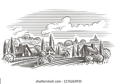 Countryside landscape engraving style illustration. Vector. Layered.