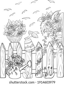 Countryside landscape with flowers, fense, birds. Vector coloring page.