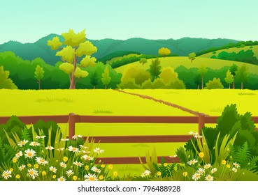Countryside landscape of grass field with fence and wilds flowers