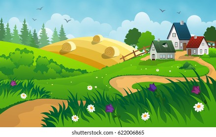 Countryside landscape with hay, field and small village.
