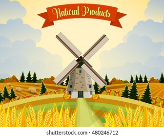 Countryside landscape with haystacks on fields. Rural area landscape. Hay bales. Farm flat landscape. Organic food concept for any design