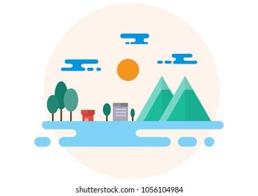 Countryside Landscape Illustration. Flat Design.