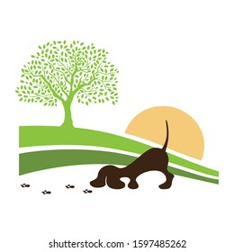 countryside landscape and  little dog sniffing trail, vector