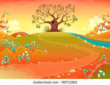 Countryside landscape with tree in the sunset. Funny cartoon vector illustration for children