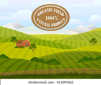 Countryside landscape vector illustration with haystacks on fields. Rural area landscape.