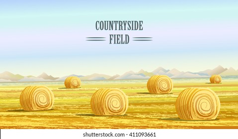 Countryside landscape vector illustration with haystacks on fields. Rural area landscape. Meadow landscape. Hay bales. Farming life concept.