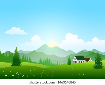 countryside nature landscape with houses