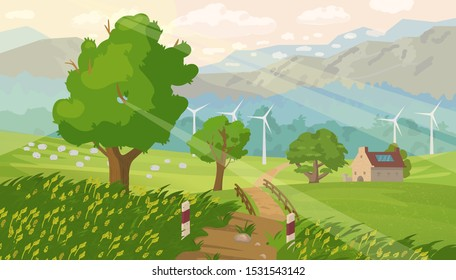 Countryside panorama. Beautiful summer landscape with trees, forest, mountains, sheep, sun rays, windmills. Countryhouse with solar battery on the roof. Eco life concept. Vector illustration.