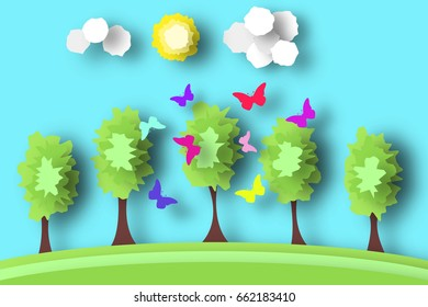 Countryside Paper World. Rural Life with Cut, Field, Trees, Clouds, Sun. Over the Meadow Flying Butterflies. Summer Landscape. Cutout Applique. Hanging Elements. Vector Illustrations Art Design.